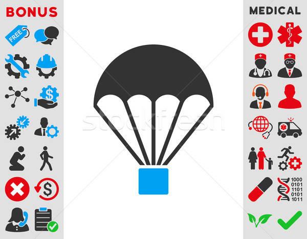 Ejtőernyő ikon vektor stílus szimbólum kék Stock fotó © ahasoft