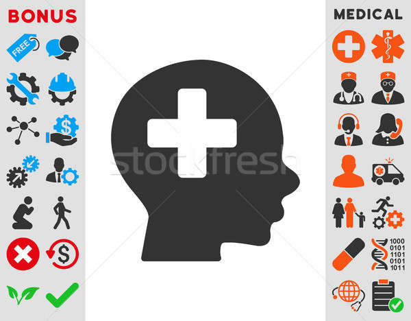 Hoofd geneeskunde icon stijl symbool Blauw Stockfoto © ahasoft