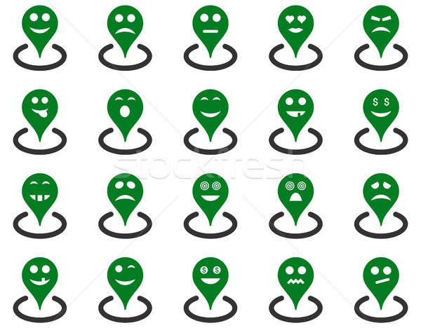 Konum simgeler ayarlamak stil yeşil Stok fotoğraf © ahasoft