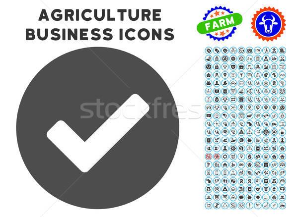 Sim ícone agricultura conjunto cinza negócio Foto stock © ahasoft