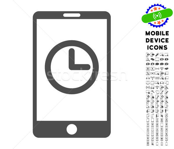 Mobile Clock Icon with Set Stock photo © ahasoft