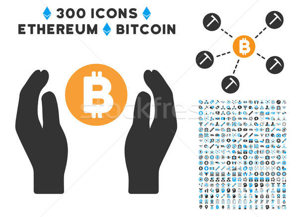 Bitcoin Care Hands Flat Icon with Clip Art Stock photo © ahasoft