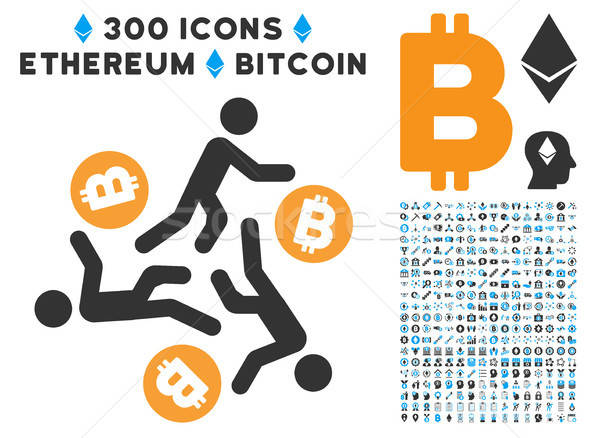 Running Persons For Bitcoin Flat Icon with Stock photo © ahasoft