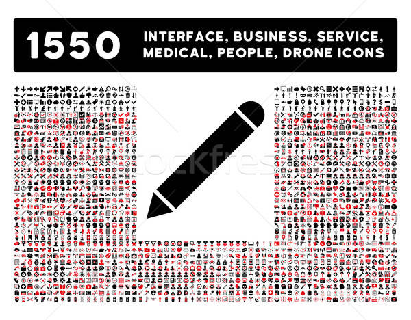 Stock photo: Pencil Icon and More Interface, Business, Tools, People, Medical, Awards Flat Vector Icons