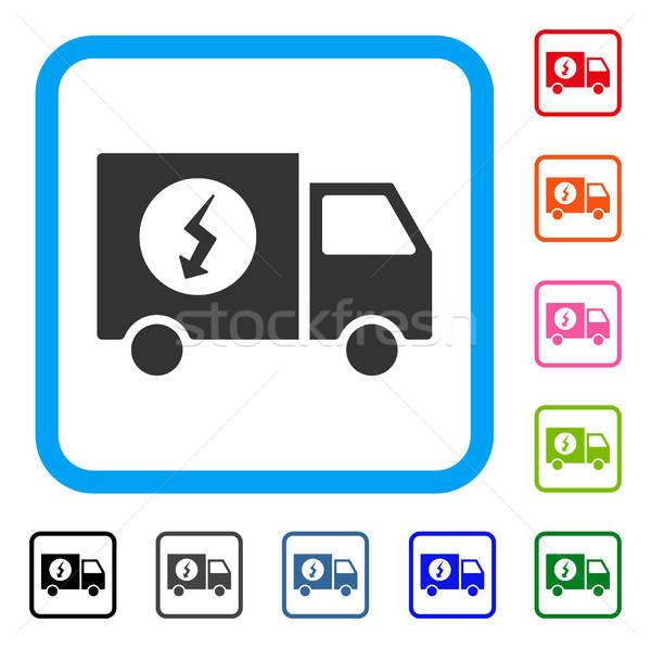 Güç kaynağı kamyonet ikon gri ikonik simge Stok fotoğraf © ahasoft