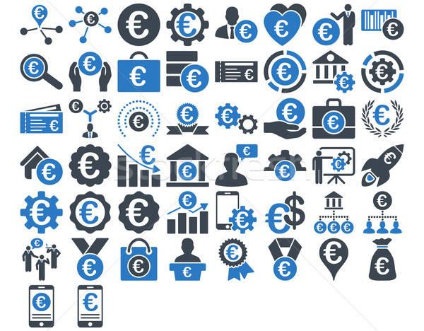 Euros negocios iconos azul colores vector Foto stock © ahasoft
