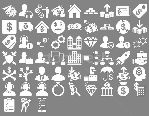 Stockfoto: Commerce · iconen · witte · kleur · vector