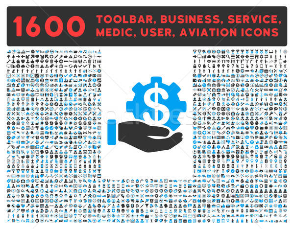 Stock photo: Payment Service Icon with Large Pictogram Collection
