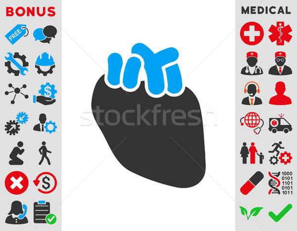 Corazón icono vector estilo símbolo azul Foto stock © ahasoft