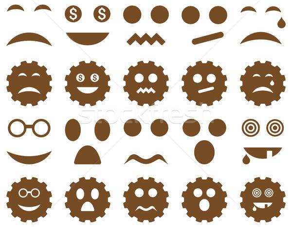 Stockfoto: Tool · versnelling · glimlach · emotie · iconen · vector