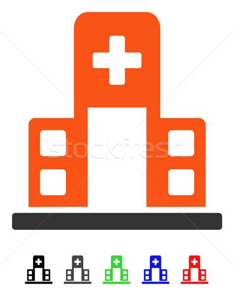 Kórház épület ikon vektor színes szín Stock fotó © ahasoft