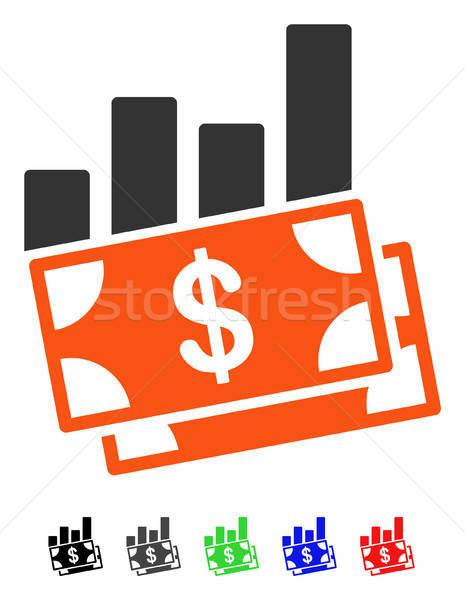 Verkoop staafdiagram icon vector gekleurd kleur Stockfoto © ahasoft
