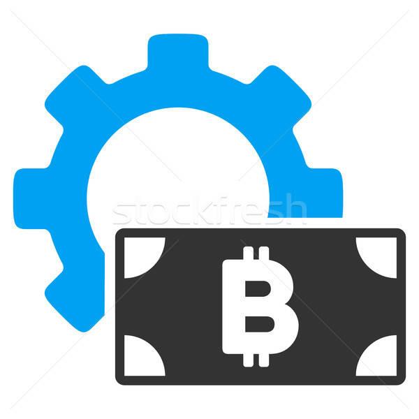 Bitcoin наличных опции Gear икона вектора Сток-фото © ahasoft