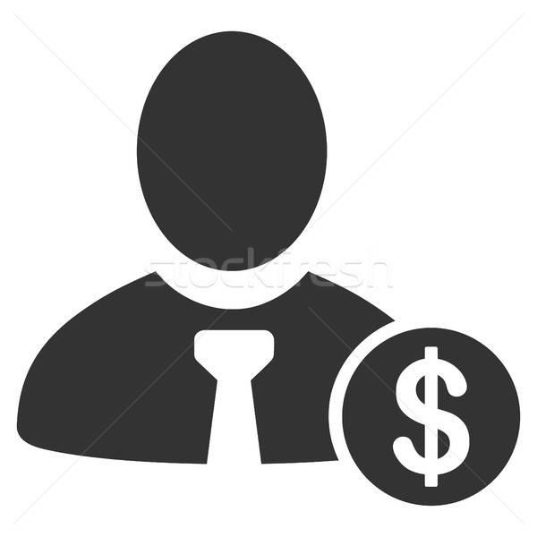 Bankár ikon vektor stílus grafikus szürke Stock fotó © ahasoft