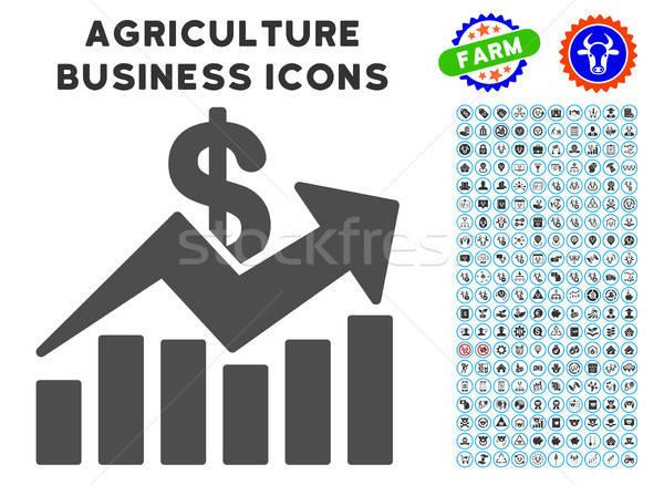 Ventes graphique à barres tendance icône agriculture Photo stock © ahasoft
