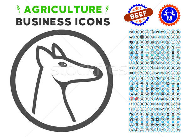 Rounded Fox Head Icon with Agriculture Set Stock photo © ahasoft