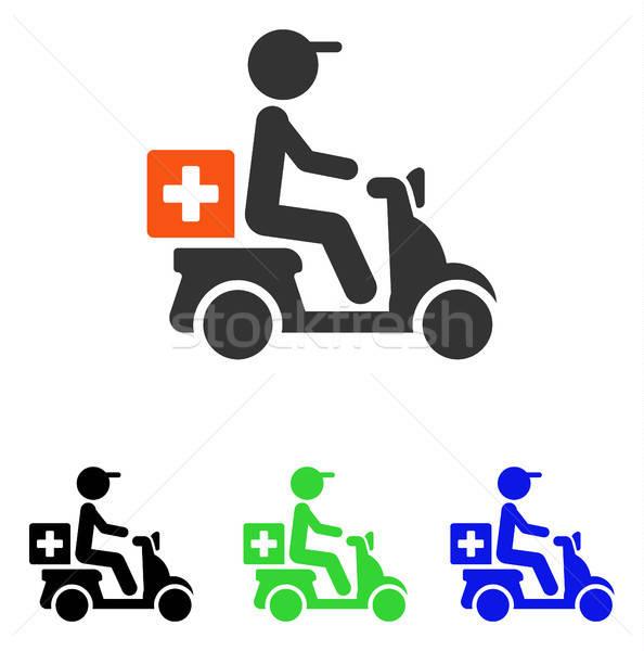 Drogok motorbicikli házhozszállítás vektor ikon illusztráció Stock fotó © ahasoft