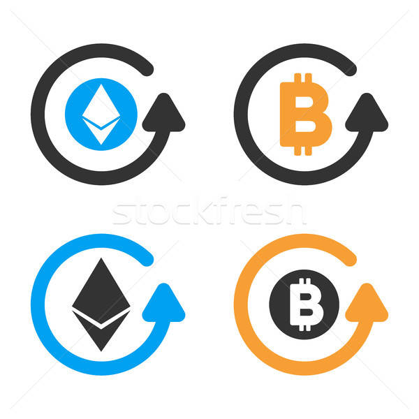 Cryptocurrency Refund Vector Icon Set Stock photo © ahasoft