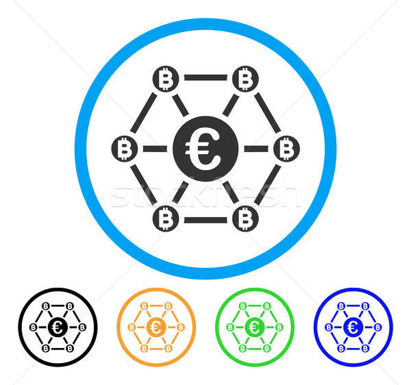 Bitcoin Euro Net Structure Rounded Icon Stock photo © ahasoft