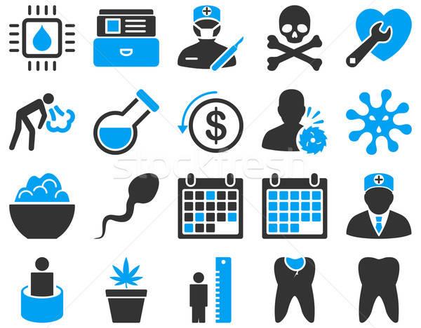 Medische iconen Blauw grijs Stockfoto © ahasoft