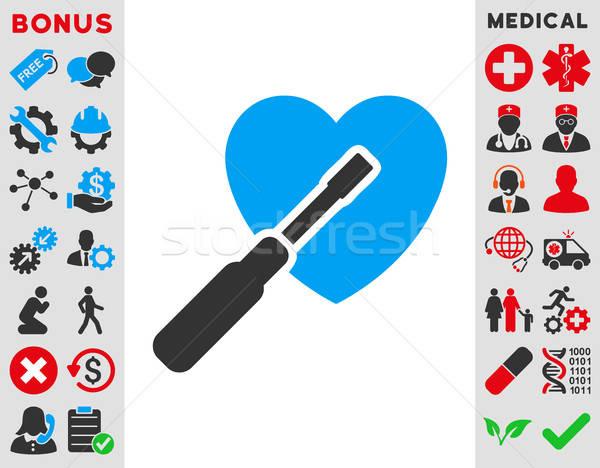 Kalp ayar ikon vektör stil simge Stok fotoğraf © ahasoft