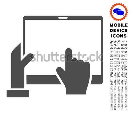 Hand Points PDA Flat Raster Icon Stock photo © ahasoft