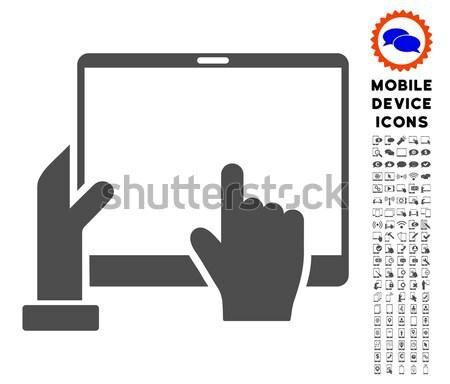 Kéz pontok pda ikon szürke szimbólum Stock fotó © ahasoft
