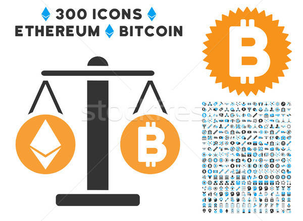 Cryptocurrency Weight Flat Icon with Set Stock photo © ahasoft