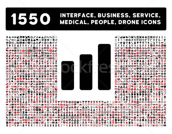 Stock photo: Bar Chart Increase Icon and More Interface, Business, Tools, People, Medical, Awards Flat Vector Ico