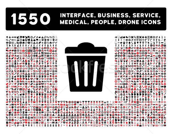 мусорное ведро икона больше интерфейс бизнеса инструменты Сток-фото © ahasoft
