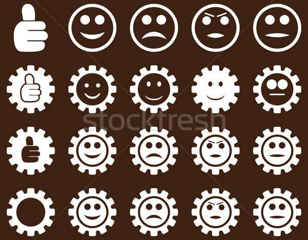 Einstellungen Lächeln Zahnräder Symbole Vektor Set Stock foto © ahasoft