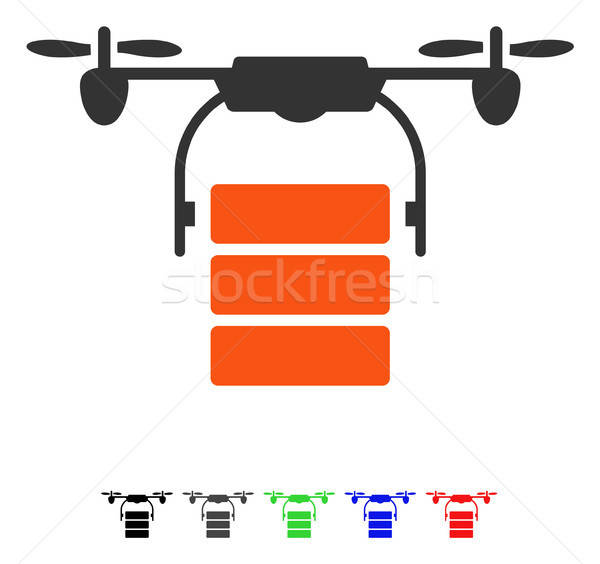 Stock photo: Cargo Drone Flat Icon