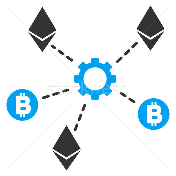 Cryptocurrency Network Nodes Flat Icon Stock photo © ahasoft