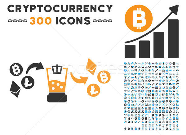 Cryptocurrency Mixer Flat Icon with Collection Stock photo © ahasoft