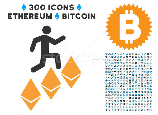 Person Climb Ethereum Flat Icon with Set Stock photo © ahasoft