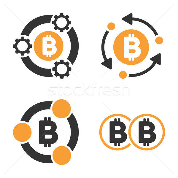 Bitcoin Collaboration Vector Icon Set Stock photo © ahasoft