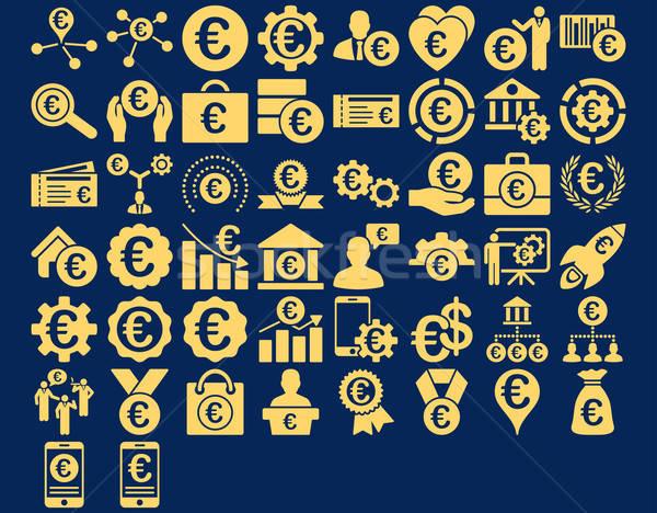 Euro business icone giallo colore vettore Foto d'archivio © ahasoft