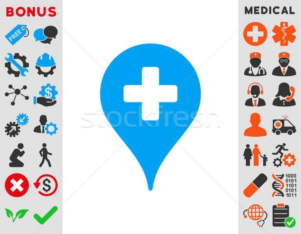 Foto stock: Clínica · mapa · ícone · estilo · símbolo · azul