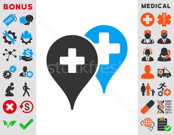 Foto stock: Médico · mapa · ícone · estilo · símbolo · azul