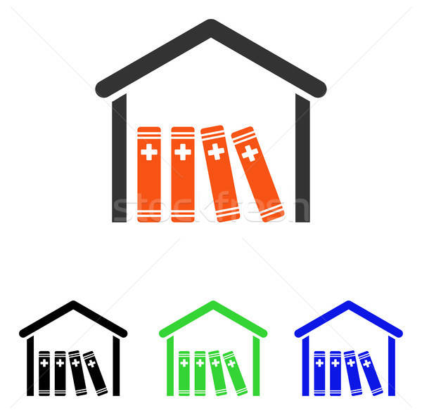 Stock photo: Medical Library Flat Vector Icon