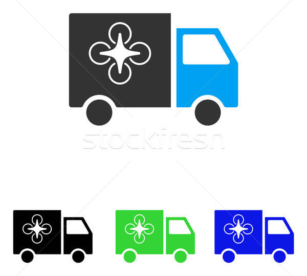 Stock photo: Drone Delivery Van Flat Vector Icon