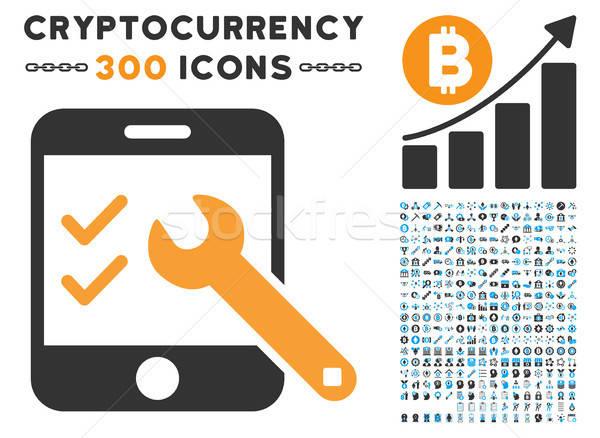 Smartphone opties icon smart contract pictogrammen Stockfoto © ahasoft