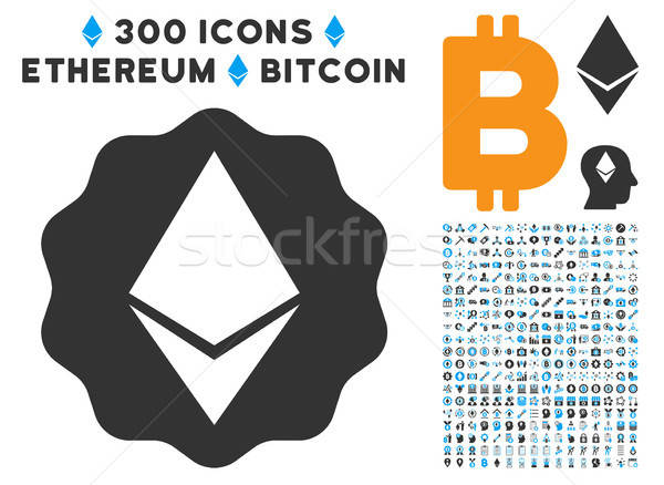 Ethereum Badge Seal Flat Icon with Clip Art Stock photo © ahasoft