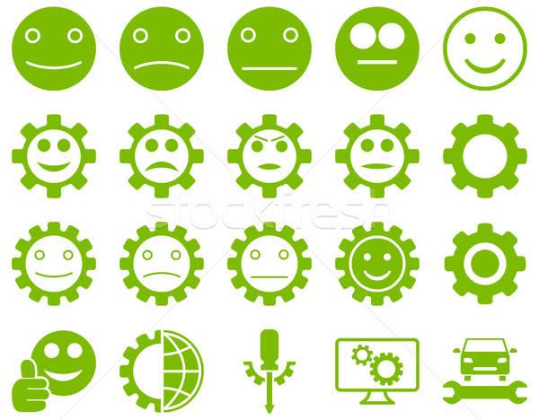 Araçları gülümseme dişliler simgeler vektör ayarlamak Stok fotoğraf © ahasoft
