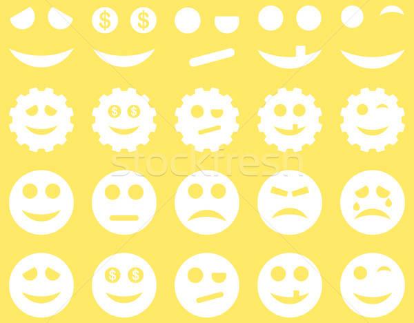 Szerszámok sebességváltó mosoly emotikonok ikonok vektor Stock fotó © ahasoft
