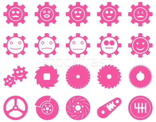 Stock fotó: Szerszámok · mosoly · sebességváltó · ikonok · vektor · szett