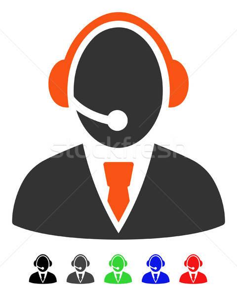 ügyfélszolgálat munkás ikon vektor piktogram színes Stock fotó © ahasoft