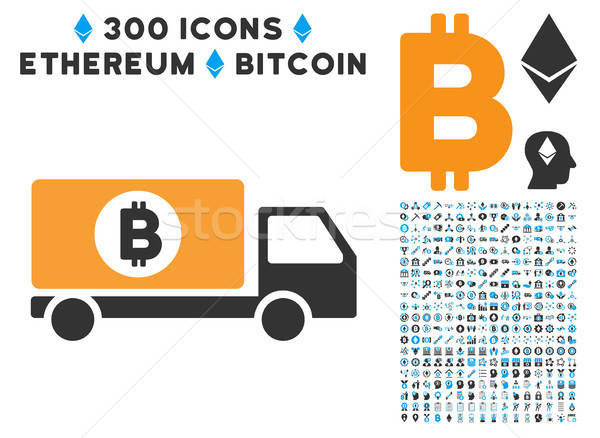 Bitcoin Delivery Lorry Flat Icon with Clip Art Stock photo © ahasoft