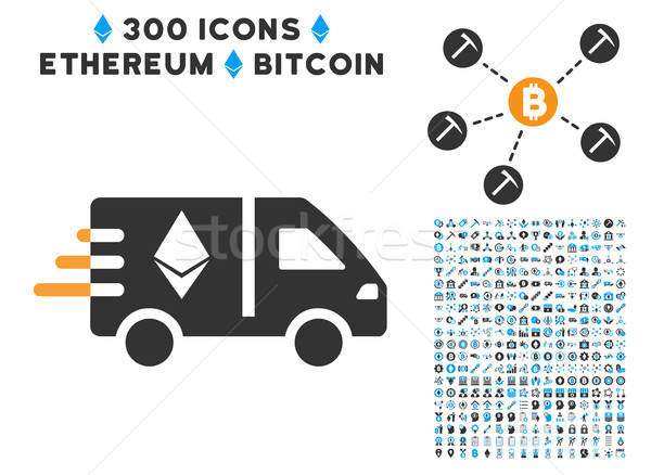 Ethereum Fast Delivery Car Flat Icon with Set Stock photo © ahasoft