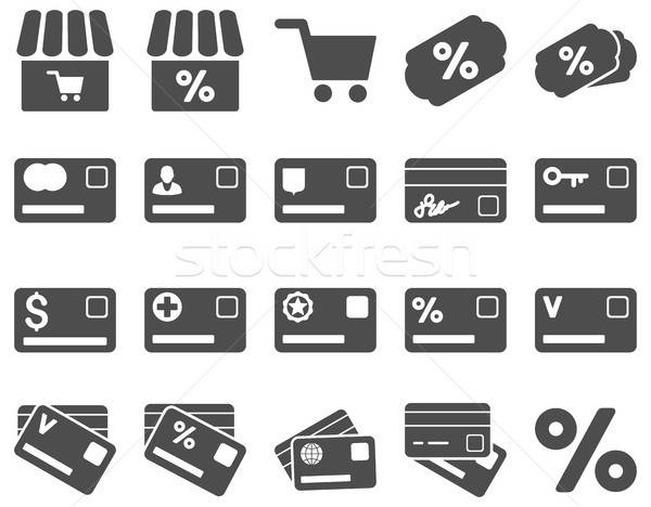 Shopping and bank card icon set Stock photo © ahasoft